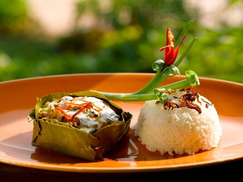 Plato de arroz en Camboya
