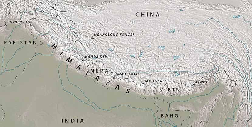 Mapa del Himalaya