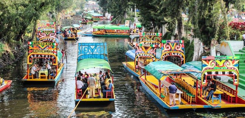 Botes en Xochimilco