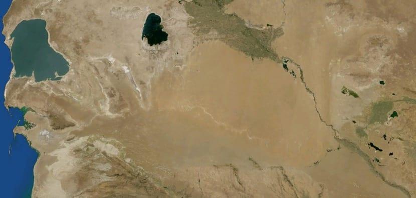 Vista aérea del desierto de Karakum