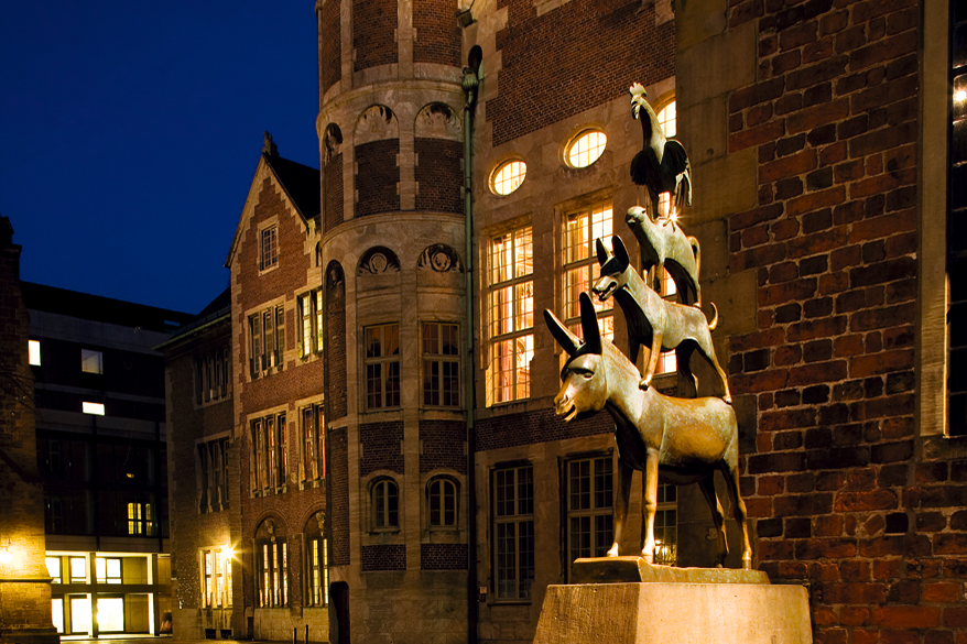 La divertida estatua de los Músicos de Bremen