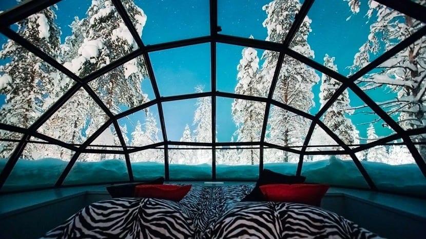 Vistas desde el iglú del Hotel Kakslauttanen