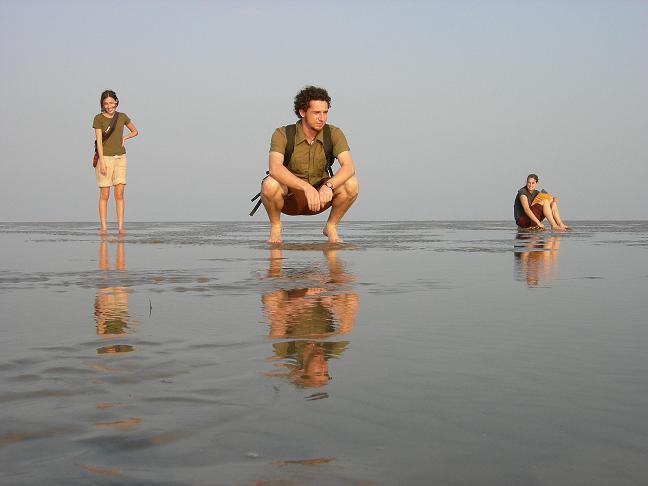 La playa de Chandipur y la marea baja