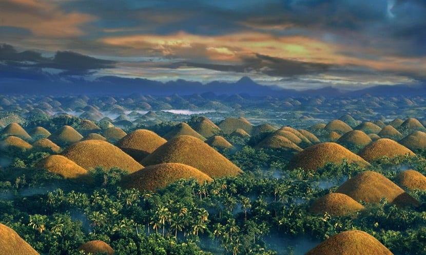 Sunrise over the Chocolate Hills,  Bohol Island, Philippines.