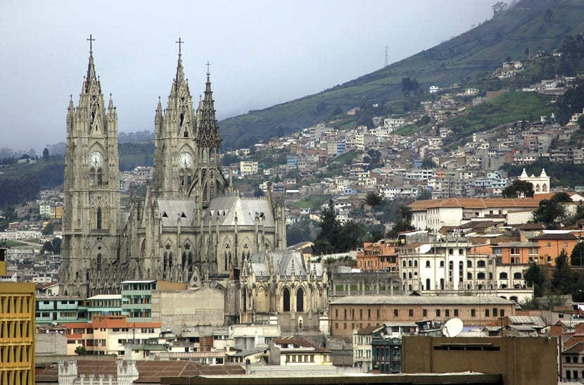 La Basilica del Voto Nacional in Quito, Ecuador. Neo-Gothic architecture. In Centro Historico, the Old Town. Quito is a UNESCO World Cultural Site.