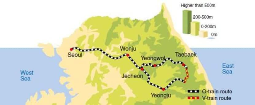Rutas de los trenes turísticos en Corea