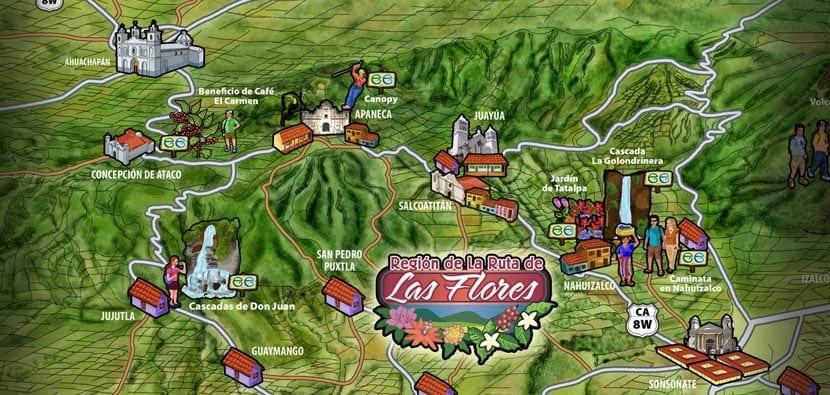 Mapa de la Ruta de las Flores