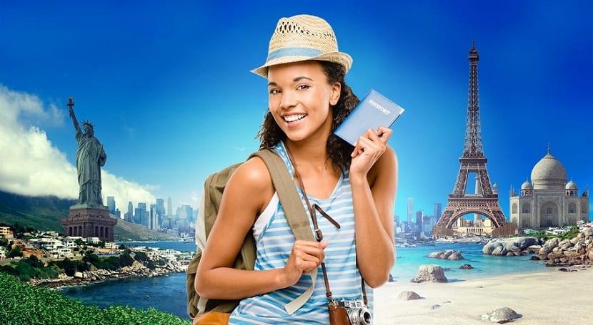 Chica viajando por el mundo