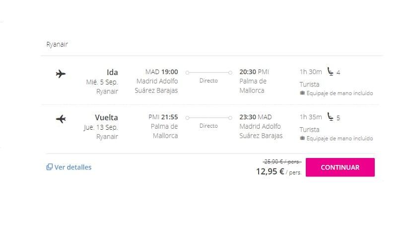 Oferta de vuelo a Mallorca