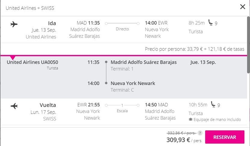 Oferta de vuelo a Nueva York