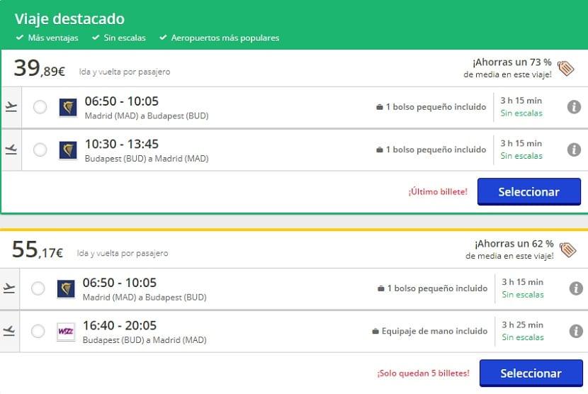 Oferta de vuelo a Budapest